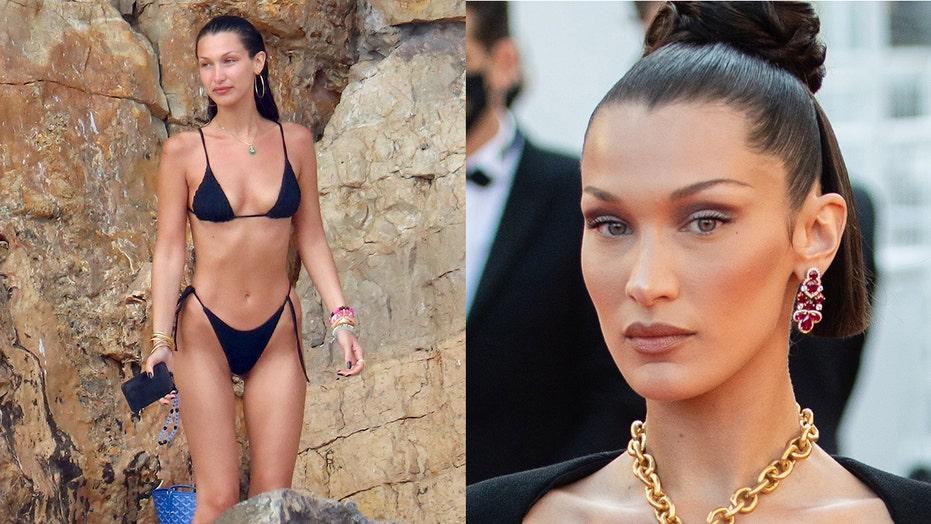 Bella Hadid sports tiny bikini during yacht outing with boyfriend Marc Kalman in Cannes