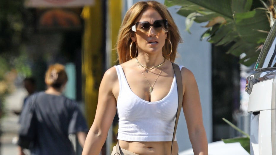 Jennifer Lopez gives off 'Jenny from the Block' vibes while wearing tiny crop top, low-rise pants for outing