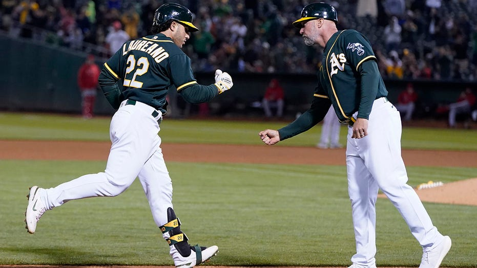 Laureano's 3-run HR lifts A's after Ohtani leaves mound