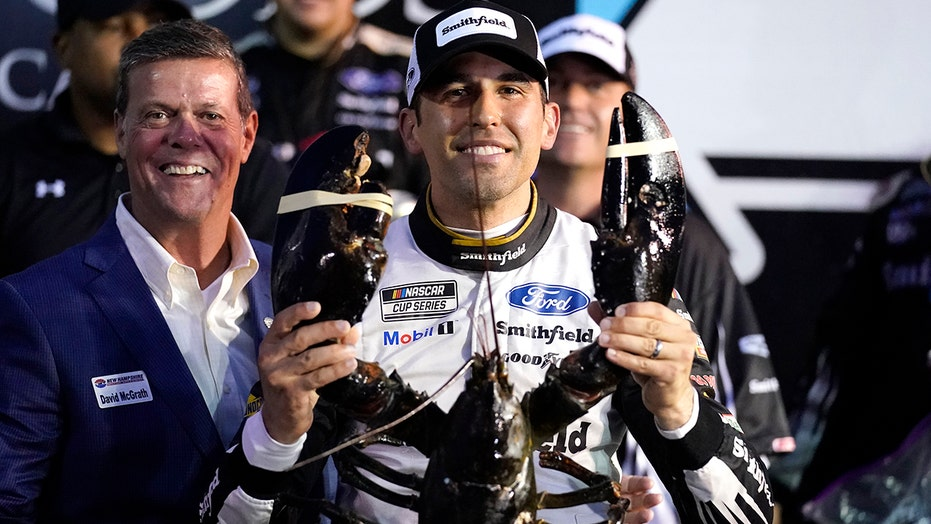 Aric Almirola wins wet and dark New Hampshire NASCAR Cup Series race
