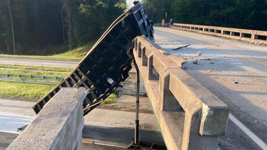 Dump truck hits bridge so hard it moves 6 feet
