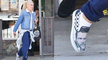 Gwen Stefani rocks shoes with Blake Shelton's face on them