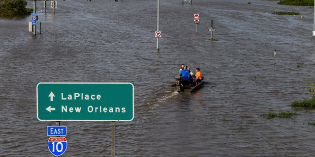 Highway 51 is flooded after Hurricane Ida struck LaPlace, Louisiana, Aug. 30, 2021.