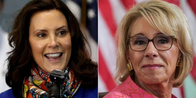 Michigan Gov. Gretchen Whitmer, left, appears worried about a possible 2022 challenge from former U.S. Education Secretary Betsy DeVos.