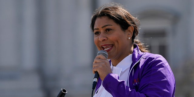 Mayor London Breed speaks at a rally in San Francisco on March 13, 2021. (Associated Press)