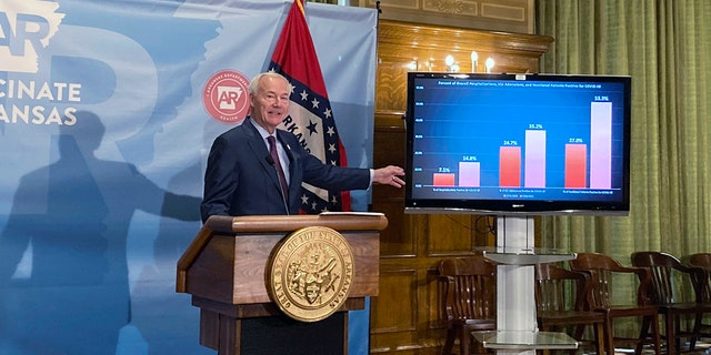 Arkansas Gov. Asa Hutchinson stands next to a chart displaying COVID-19 hospitalization data as he speaks at a news conference at the state Capitol in Little Rock, Ark. in this file photo. (AP Photo/Andrew DeMillo)