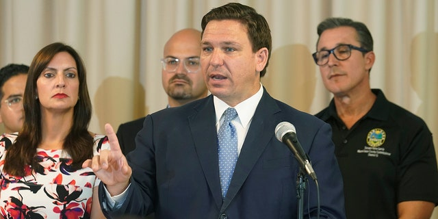 Florida Gov. Ron DeSantis answers questions related to school openings and the wearing of masks in Surfside, Florida, Aug. 10, 2021. (Associated Press)