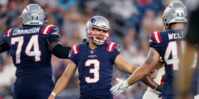 New England Patriots kicker Quinn Nordin (3) is congratulated after his field goal during the first half of the team's preseason NFL football game against the Washington Football Team, Thursday, Aug. 12, 2021, in Foxborough, Mass. (AP Photo/Steven Senne)