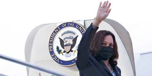 U.S. Vice President Kamala Harris waves as she departs Singapore to Vietnam, Tuesday, Aug. 24, 2021. (Associated Press)