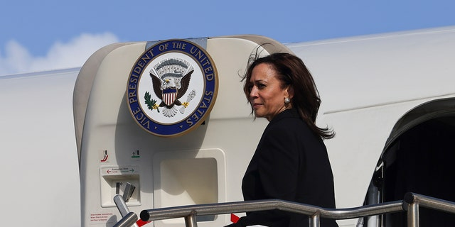 U.S. Vice President Kamala Harris boards Air Force Two to return to Washington from Joint Base Pearl Harbor-Hickam, Hawaii, Thursday, Aug. 26, 2021. (Associated Press)