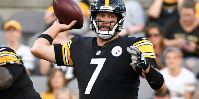 Pittsburgh Steelers quarterback Ben Rothlisberger threw a pass against the Detroit Lions during the first half of an NFL Preseason football game in Pittsburgh on Saturday, August 21, 2021.