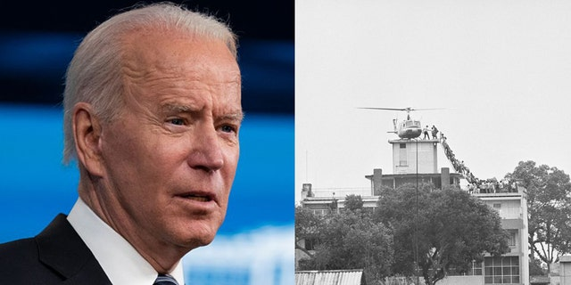 This week's events following President Biden's decision to withdraw U.S. troops from Afghanistan revived grim memories of the fall of Saigon in 1975, right. (Associated Press/Getty Images)