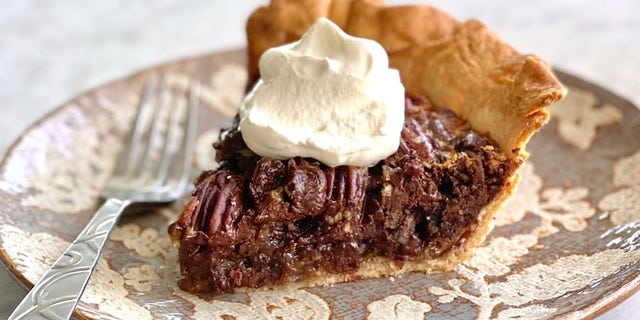 The pie combines the delicious taste of pecan pie with two types of chocolate chips.