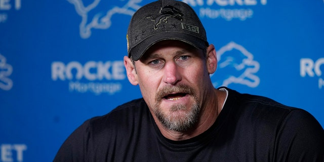 Detroit Lions head coach Dan Campbell addresses the media before drills at the Lions NFL football camp practice, Wednesday, July 28, 2021, in Allen Park, Mich.?
