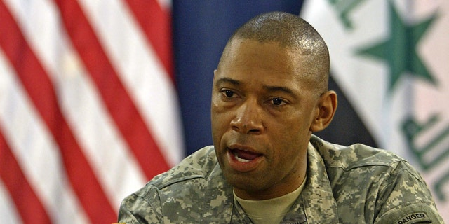U.S. Army Maj. Gen. Dana Pittard, now retired, is shown speaking to reporters during his service in Iraq in 2006. (Getty Images)