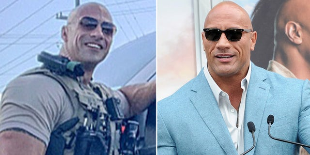 Eric Fields (L) and Dwayne 'The Rock' Johnson (R).