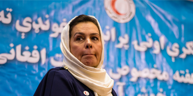 Portrait of Fatima Gailani, president of Afghan Red Crescent Society, at celebration of 80th anniversary of Afghan Red Crescent Society, Accettare, Afghanistan (Photo by NurPhoto/NurPhoto via Getty Images)