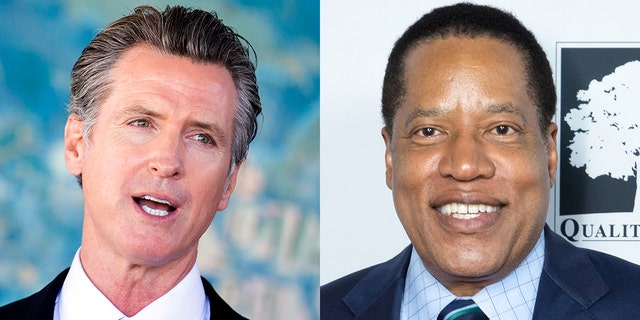 California Democratic Governor Gavin Newsom and candidate Larry Elder, who is the current Republican frontrunner in the upcoming recall election.