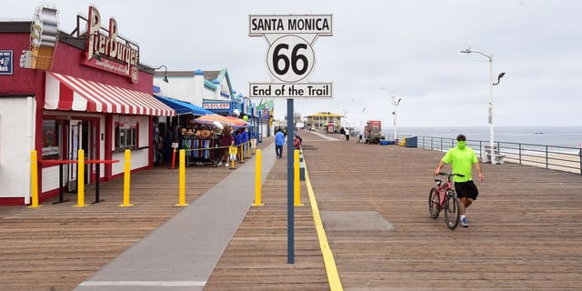 California's U.S. Bicycle Route 66 ends at the Santa Monica Pier in Los Angeles.