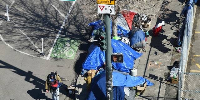 A homeless camping site is seen near the corner of 22nd and Stout streets in Denver, March 5, 2021. (Getty Images)