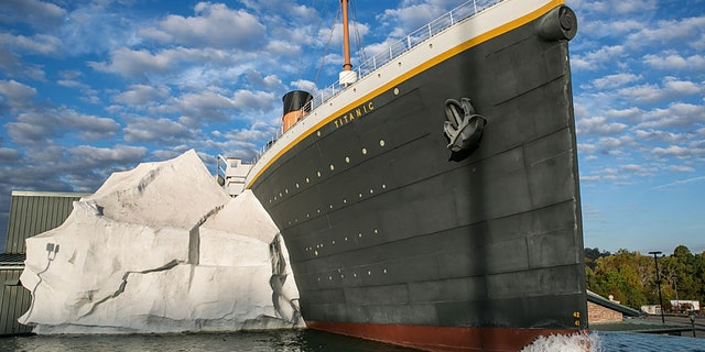 A half-scale replica of the Titanic hitting an iceberg is a main feature of the Titanic Museum as viewed on October 18, 2016 in Pigeon Forge, Tennessee. (Photo by George Rose/Getty Images)