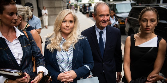 David Boies, representing several of the alleged victims of Jeffrey Epstein, center, arrives with Annie Farmer, right, and Virginia Giuffre, alleged victims of Jeffrey Epstein, second left, at federal court in New York , USA, Tuesday August 27, 2019. Epstein, a convicted pedophile, committed suicide in prison earlier this month while awaiting trial on charges of conspiracy and trafficking of minors for sexual purposes.