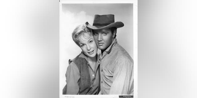 Barbara Eden and Elvis Presley in publicity portrait for the film 'Flaming Star', 1960.?