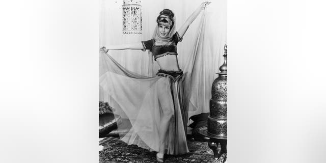 American actress Barbara Eden wears a harem costume in a full-length promotional portrait for the television series 'I Dream of Jeannie', circa 1965.