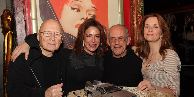 From left: James Tolkan (Principal Strickland), Claudia Wells (Jennifer Parker), Christopher Lloyd (Dr. Emmett Brown) and Lea Thompson (Lorraine McFly) attends the 25th anniversary screening of 'Back to the Future' at Hollywood Blvd Cinema on February 26, 2010 in Chicago, Illinois.
