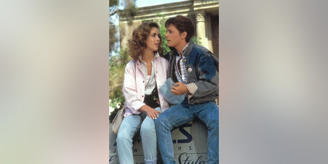 Claudia Wells and Michael J. Fox. on the set of 'Back to the Future'.
