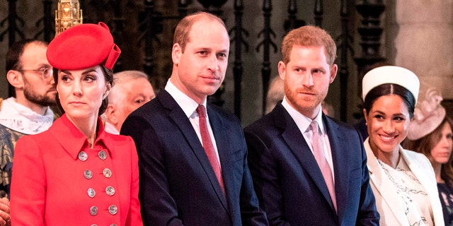 (L-R) Britain's Catherine, Duchess of Cambridge, Britain's Prince William, Duke of Cambridge, Britain's Prince Harry, Duke of Sussex, and Britain's Meghan, Duchess of Sussex attend the Commonwealth Day service at Westminster Abbey in London on March 11, 2019.