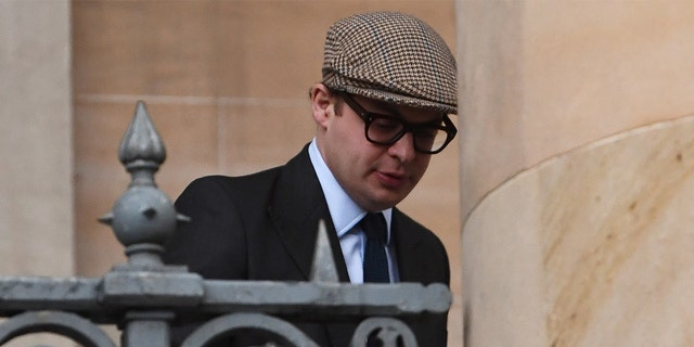 Simon Bowes-Lyon arrives at Dundee Sheriff Court on February 23, 2021 in Dundee, Scotland. Bowes-Lyon, a distant cousin of Queen Elizabeth, pleaded guilty to forcing his way into the room of a guest at Glamis Castle, where he was hosting a function, and assaulting her.