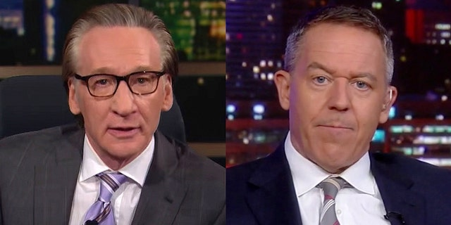 """""""Real Time"""" host Bill Maher, left, says Fox News has found a """"good thing"""" in late-night host Greg Gutfeld."""