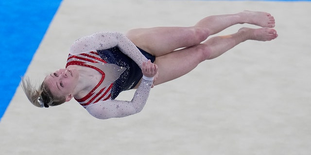 Jade Carey, of the United States, performs on the floor during the artistic gymnastics women's apparatus final at the 2020 Summer Olympics, Monday, Aug. 2, 2021, in Tokyo, Japan. (AP Photo/Gregory Bull)