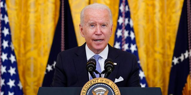FILE: President Joe Biden speaks from the East Room of the White House in Washington, Thursday, July 29, 2021.
