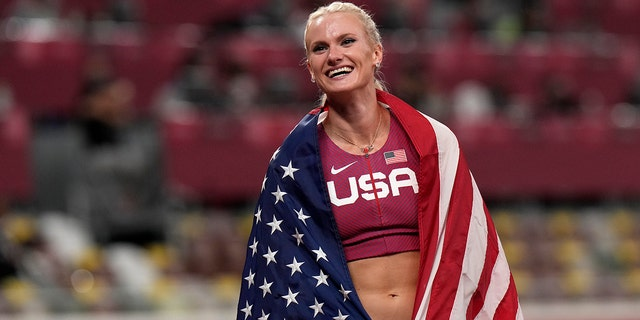 Gold medalist Ryan Crouser, celebrates after winning the final of the women's pole vault at the 2020 Summer Olympics, Thursday, Aug. 5, 2021, in Tokyo.(AP Photo/Francisco Seco)