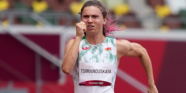 Tsimanouskaya alleged her Olympic team tried to remove her from Japan in a dispute that led to a standoff Sunday, Aug. 1, at Tokyo's main airport. (AP Photo/Martin Meissner)