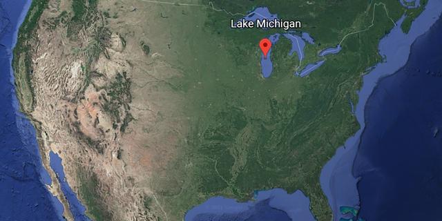 A satellite image of Lake Michigan