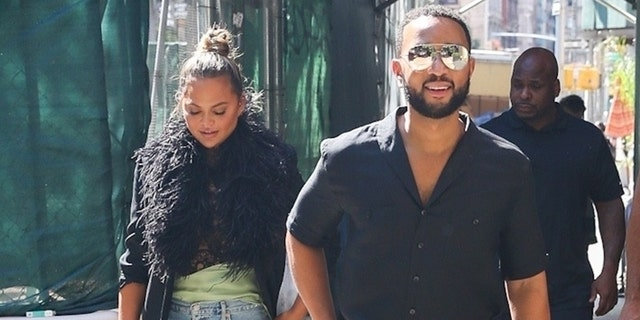 Chrissy Teigen and John Legend step out for lunch in New York City.