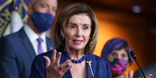 Speaker of the House Nancy Pelosi, D-Calif., and Democratic leaders discuss their legislative agenda, including voting rights, public health, and infrastructure, during a news conference at the Capitol in Washington, Friday, July 30, 2021.
