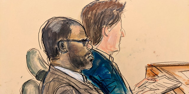 """In this courtroom artist sketch made from a video screen monitor of a Brooklyn courtroom, defendant R. Kelly, left, listens on the opening day of his trial, Wednesday August 18, 2021 in New York.  The prosecutor described the allegations of sexual abuse against Kelly, saying that the long-anticipated trial now underway was """"about a predator"""" who used his fame to attract girls, boys and young women before dominating and controlling them physically, sexually and psychologically."""