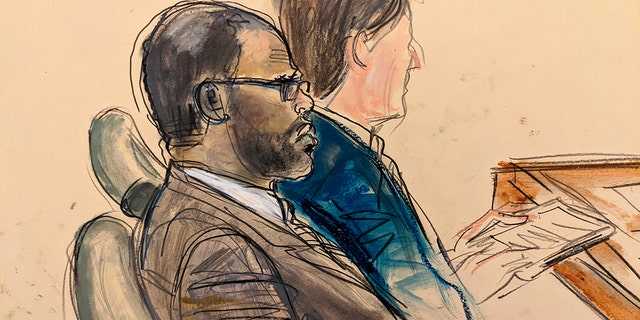 In this courtroom artist's sketch made from a video screen monitor of a Brooklyn courtroom, defendant R. Kelly, left, listens during the opening day of his trial, Wednesday, Aug. 18, 2021 in New York.