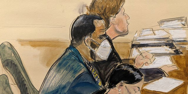 In this courtroom artist's sketch R. Kelly, left, listens during his trial in New York, Thursday, Aug. 26, 2021. The 54-year-old Kelly has repeatedly denied accusations that he preyed on several alleged victims during a 30-year career highlighted by his mega hit 'I Believe I Can Fly.'
