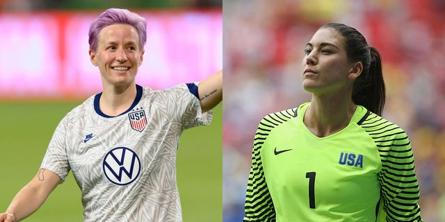 Former teammates Megan Rapinoe and Hope Solo. (Photo by Wilf Thorne/ISI Photos/Getty Images) (Photo by Steve Bardens-FIFA/FIFA via Getty Images)