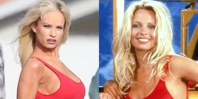 """Lily James (L) as Pamela Anderon (R) donning her iconic red swimsuit from """"Baywatch."""""""