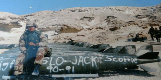 Marines Lance Cpl. Scott Stump is pictured here at Al Sheikh Isa Air Base in Bahrain in February 1991. (Courtesy Scott Stump)