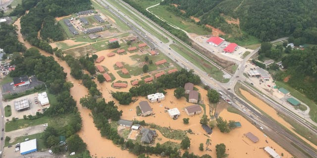 Catastrophic flooding is seen in this aerial image from Waverly, Tennessee, Aug. 21, 2021. (Nashville Fire Department)