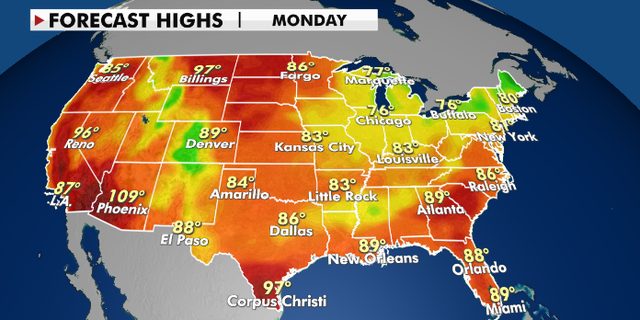 Forecast high temperatures for Monday, Aug. 2. (Fox News)