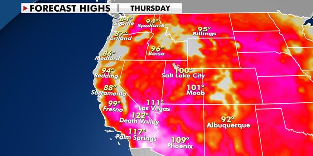 Forecast high temperatures for Thursday. (Fox News)
