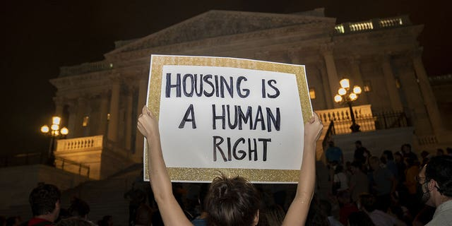 Demonstrators gather during a protest against the expiration of the eviction moratorium outside of the U.S. Capitol in Washington, D.C., U.S., on Sunday, Aug. 1, 2021. (Getty Images)